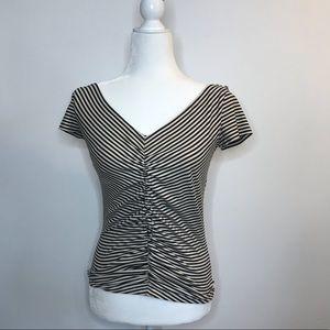 SportMax Striped V Neck Ruched White T-Shirt M